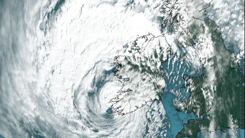 Satellite view of Ireland as Storm Ophelia approaches