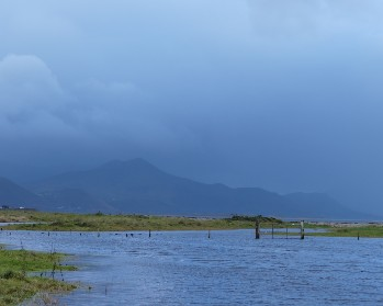 Flooded fields at the Kerry coast