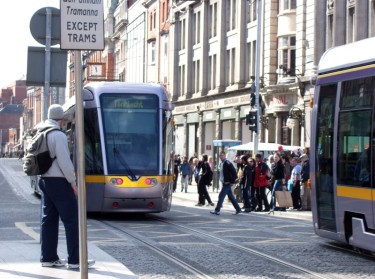 Street view of the Luas red Line tram in Dublin