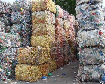 Waste baled plastics
