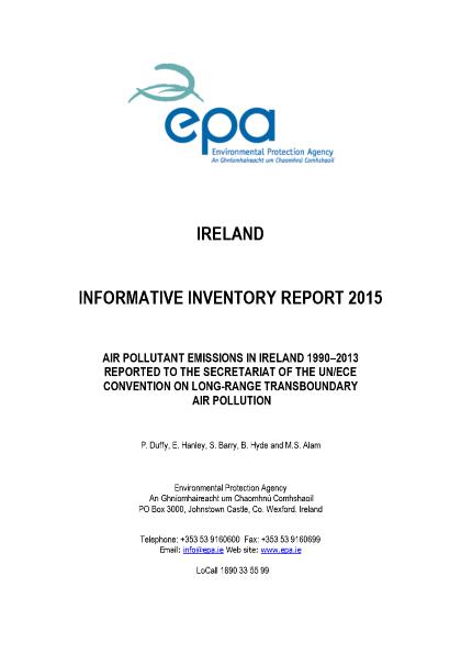 Air Pollutant Emissions in Ireland 1990-2013