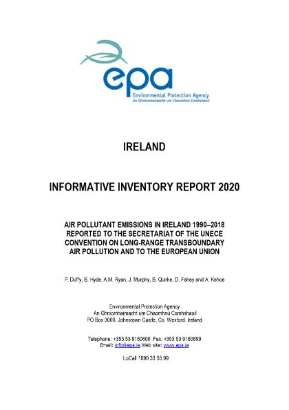 Air Pollutant Emissions in Ireland 1990-2018